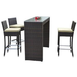 Deza hostel distribuidores para hosteleria mesa alta ratan con taburetes - Mesa alta con taburetes ...